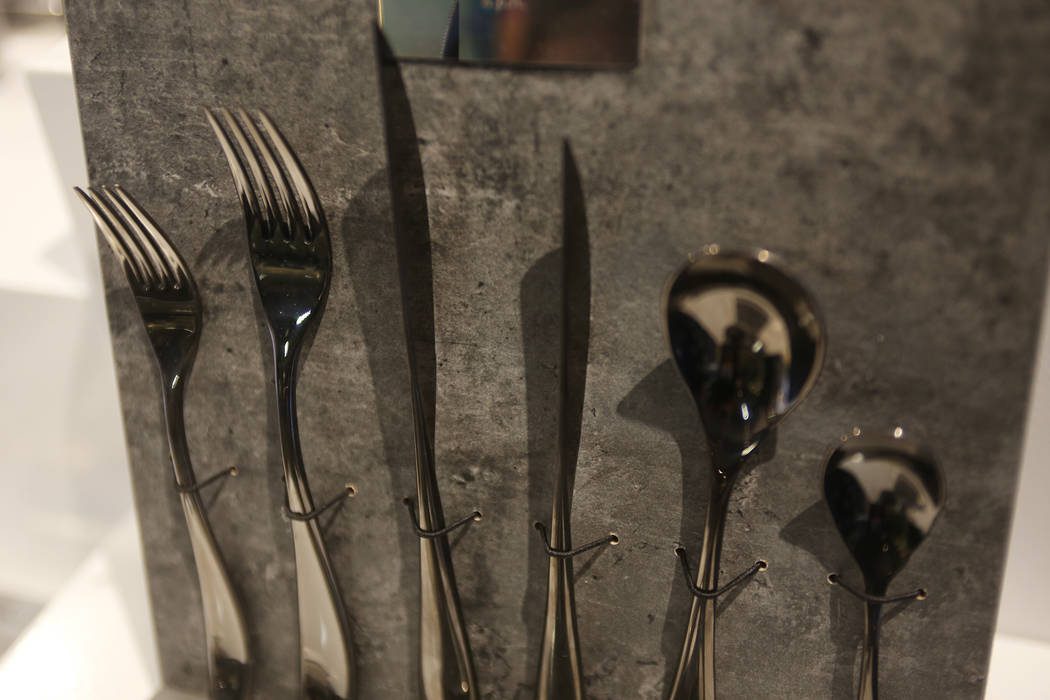 The flatware that's used at the restaurant Lago at the Mepra flatware showroom at the Las Vegas Market at the World Market Center in Las Vegas, Tuesday, Jan. 29, 2019. (Rachel Aston/Las Vegas Revi ...