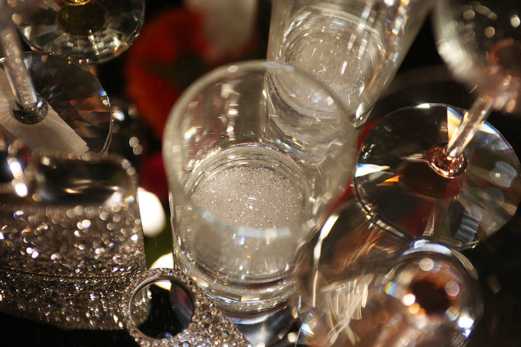 Glasses with glitter in the bottom at the Sparkles showroom at the Las Vegas Market at the World Market Center in Las Vegas, Tuesday, Jan. 29, 2019. (Rachel Aston/Las Vegas Review-Journal) @rookie ...