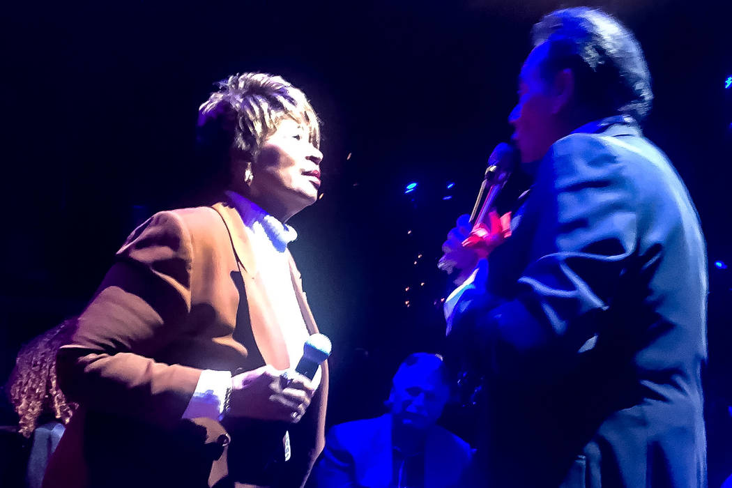 "Frances Lee and Wayne Newton perform ""At This Moment"" at Cleopatra's Barge at Caesars Palace on Monday, Jan. 28, 2019. John Katsilometes/Las Vegas Review-Journal @JohnnyKats"
