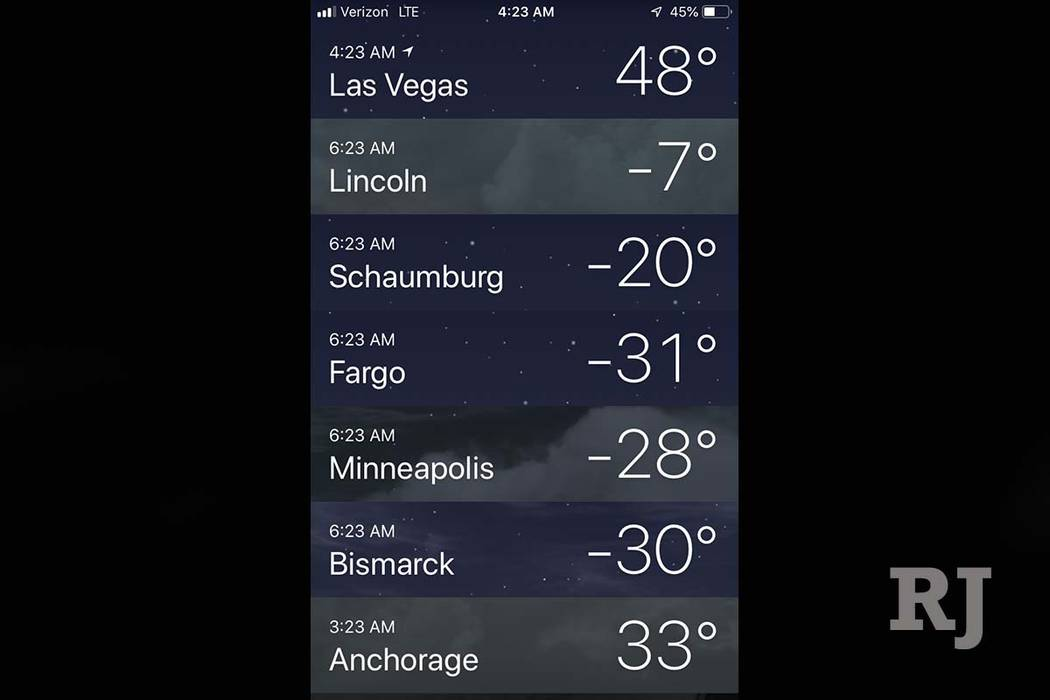 Various temperatures at 4:23 a.m. from Las Vegas to Alaska to the Upper Midwest. (The Weather Channel)