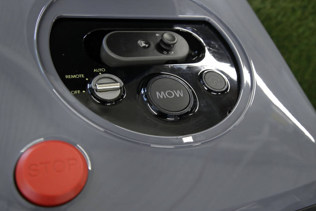 This Wednesday, Jan. 16, 2019 photo shows an iRobot Terra lawn mower in Bedford, Mass. The shell-shaped autonomous grass-cutter is being publicly unveiled Wednesday, Jan. 30, after a decade-plus e ...