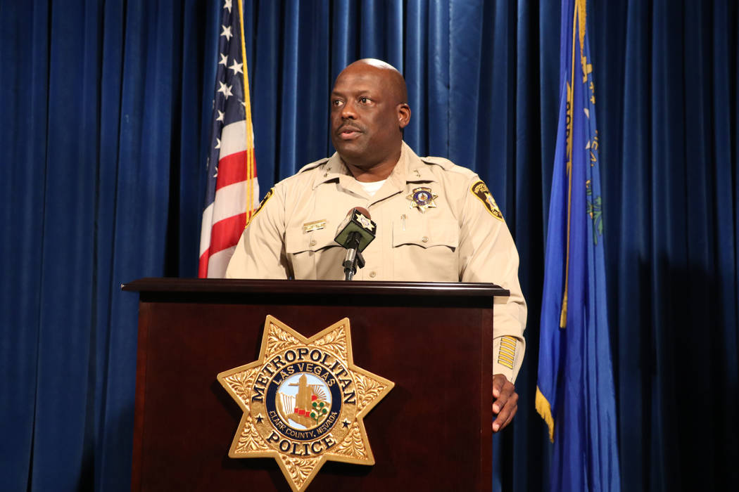 Metropolitan Police Assistant Sheriff Tim Kelly addresses the media regarding an officer involved shooting that occurred in the 3300 block of West Maule Avenue on Jan. 27, at the Las Vegas Metropo ...