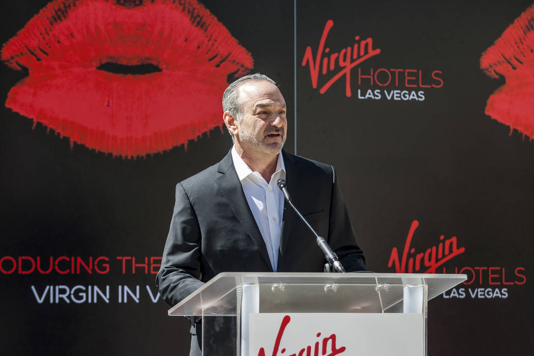 """Virgin Group Partner and Property CEO Richard """"Boz"""" Bosworth speaks at a press conference at the Hard Rock Hotel in Las Vegas on Friday, March 30, 2018. Patrick Connolly Las Vegas Revie ..."""