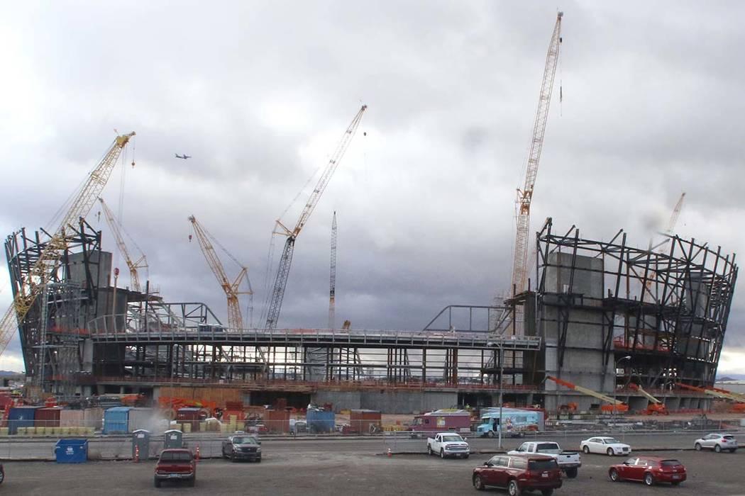The construction site for the future Raiders stadium on Thursday, Jan. 17, 2019, in Las Vegas. (Bizuayehu Tesfaye/Las Vegas Review-Journal) @bizutesfaye