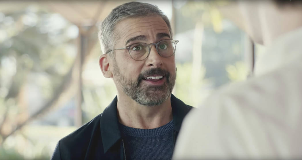 This screen grab from video provided by PepsiCo shows an image from the company's 2019 Super Bowl NFL football spot featuring Steve Carell. Star power abounds in this year's Super Bowl ads. ...