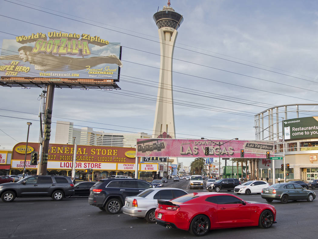 Rush hour traffic at the intersection of Sahara Avenue and Las Vegas Boulevard on Wednesday, Jan. 30, 2019, in Las Vegas. (Benjamin Hager/Las Vegas Review-Journal) @BenjaminHphoto
