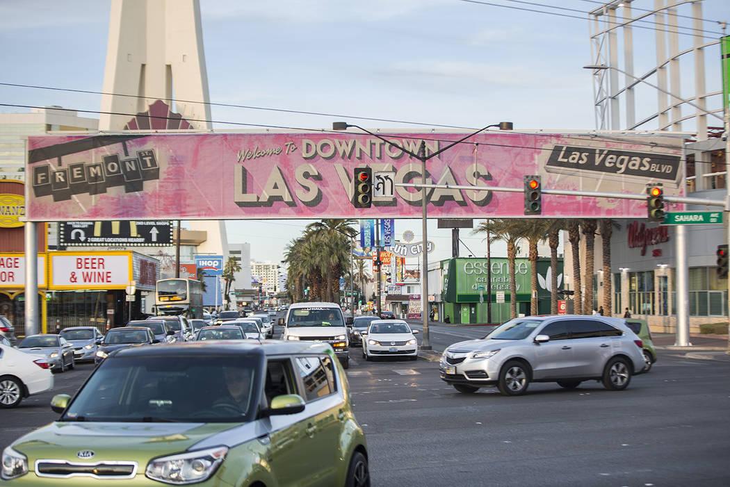 Rush hour traffic at the intersection of Sahara Avenue and Las Vegas Boulevard on Wednesday, Jan. 30, 2019, in Las Vegas. (Benjamin Hager/Las Vegas Review-Journal) @BenjaminHphoto