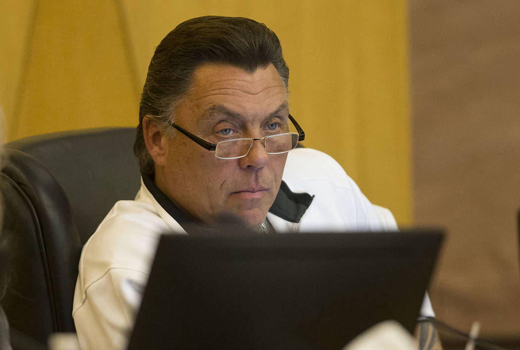 Board member Tommy White during a Las Vegas Stadium Authority meeting at the Clark County Commission Chambers in Las Vegas, Thursday, March 1, 2018. Erik Verduzco Las Vegas Review-Journal @Erik_Ve ...