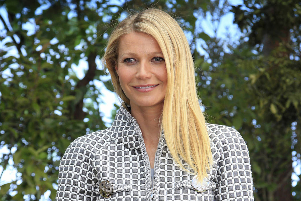 In this Jan. 26, 2016, file photo, Gwyneth Paltrow poses for photographers before Chanel's Spring-Summer 2016 Haute Couture fashion collection in Paris. A Utah man filed a lawsuit Tuesday, Jan. 29 ...