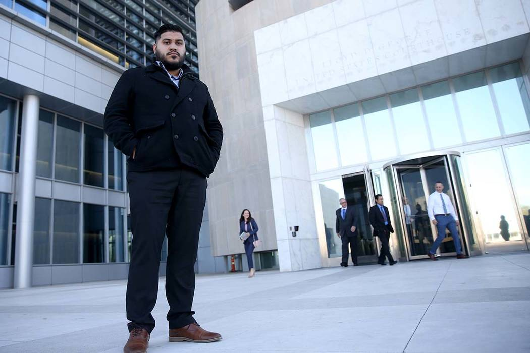 Angel Landeros stands in from of the Lloyd George U.S. Courthouse in Las Vegas on Tuesday, Jan. 29, 2019. (K.M. Cannon/Las Vegas Review-Journal) @KMCannonPhoto