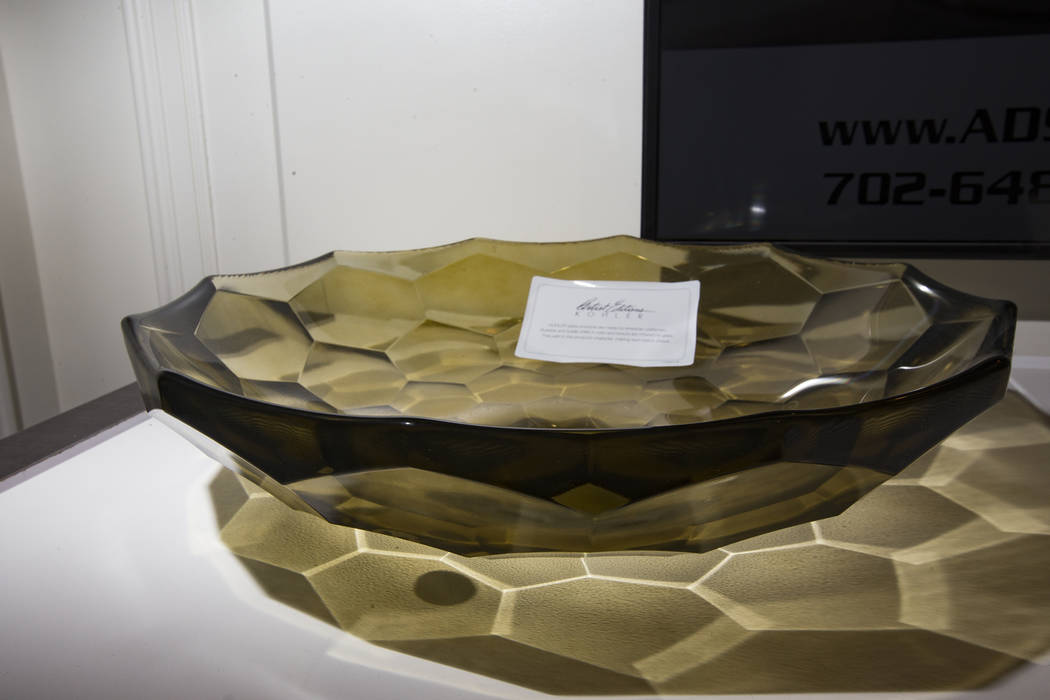 A Briolette vessel faceted glass bathroom sink at the European showroom at the Las Vegas Market at World Market Center in Las Vegas, Wednesday, Jan. 30, 2019. (Rachel Aston/Las Vegas Review-Journa ...