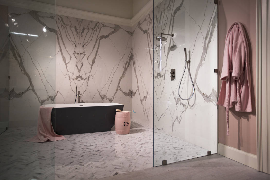 A free standing bathtub inside a giant shower at the European showroom at the Las Vegas Market at World Market Center in Las Vegas, Wednesday, Jan. 30, 2019. According to representatives from Euro ...