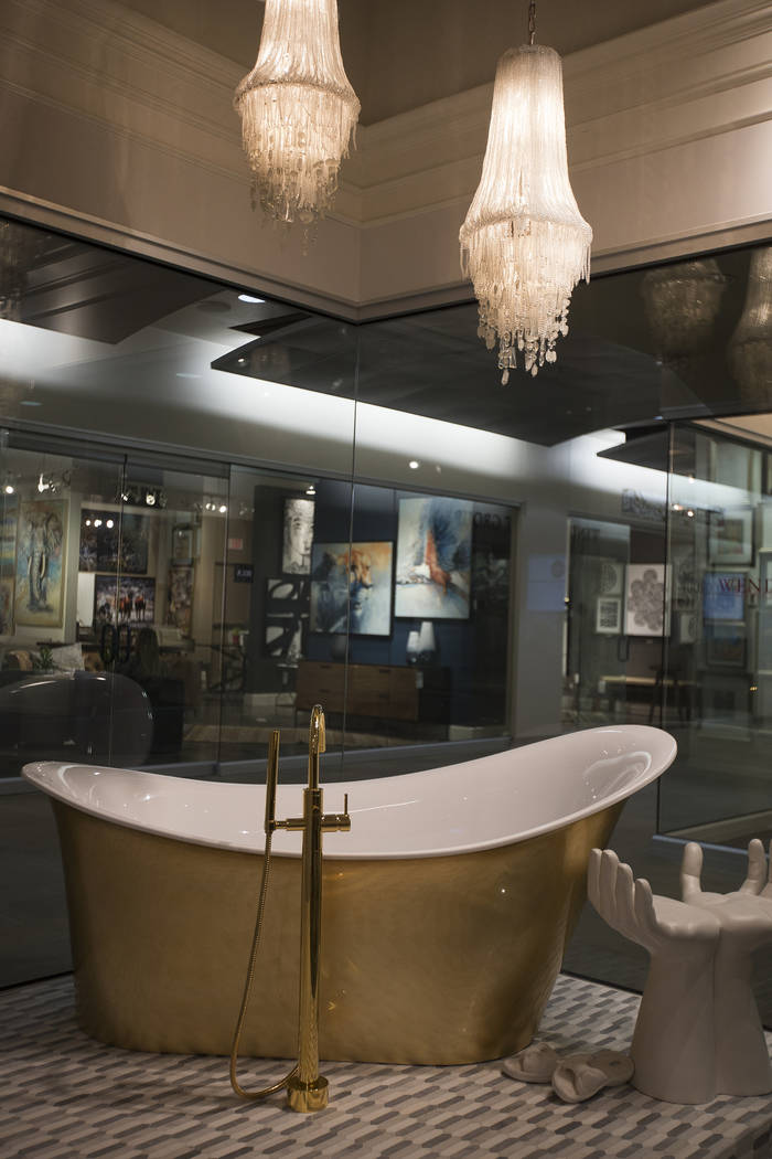 A free standing bathtub at the European showroom at the Las Vegas Market at World Market Center in Las Vegas, Wednesday, Jan. 30, 2019. According to representatives from European Bath Kitchen Tile ...