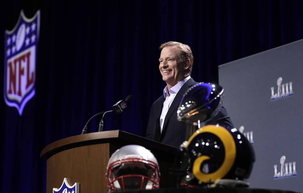 NFL Commissioner Roger Goodell smiles as he listens to a question during a news conference for the NFL Super Bowl 53 football game Wednesday, Jan. 30, 2019, in Atlanta. (AP Photo/David J. Phillip)