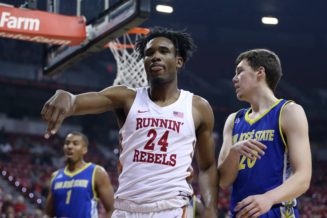 UNLV Rebels forward Joel Ntambwe (24) reacts after a play against the San Jose State Spartans in the first half of the basketball game at the Thomas & Mack Center in Las Vegas, Saturday, Jan. 19, ...