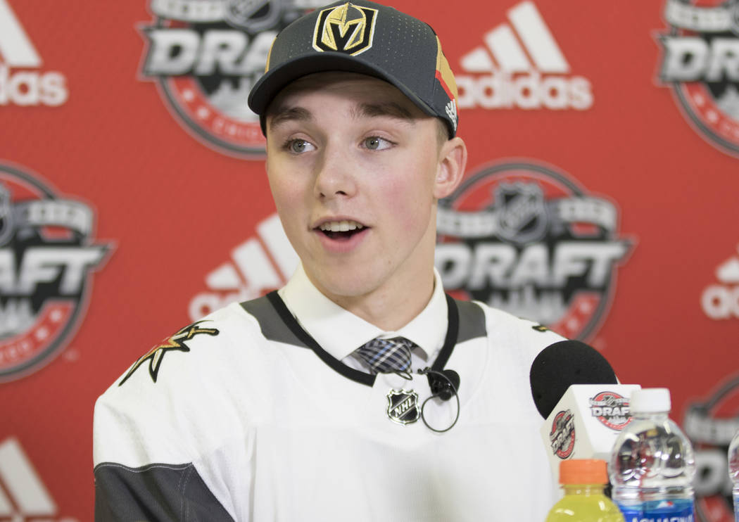 Vegas Golden Knights Jake Leschyshyn responds to questions from the media at the 2017 NHL Entry Draft at the United Center in Chicago, Saturday, June 24, 2017. Heidi Fang/Las Vegas Review-Journal ...