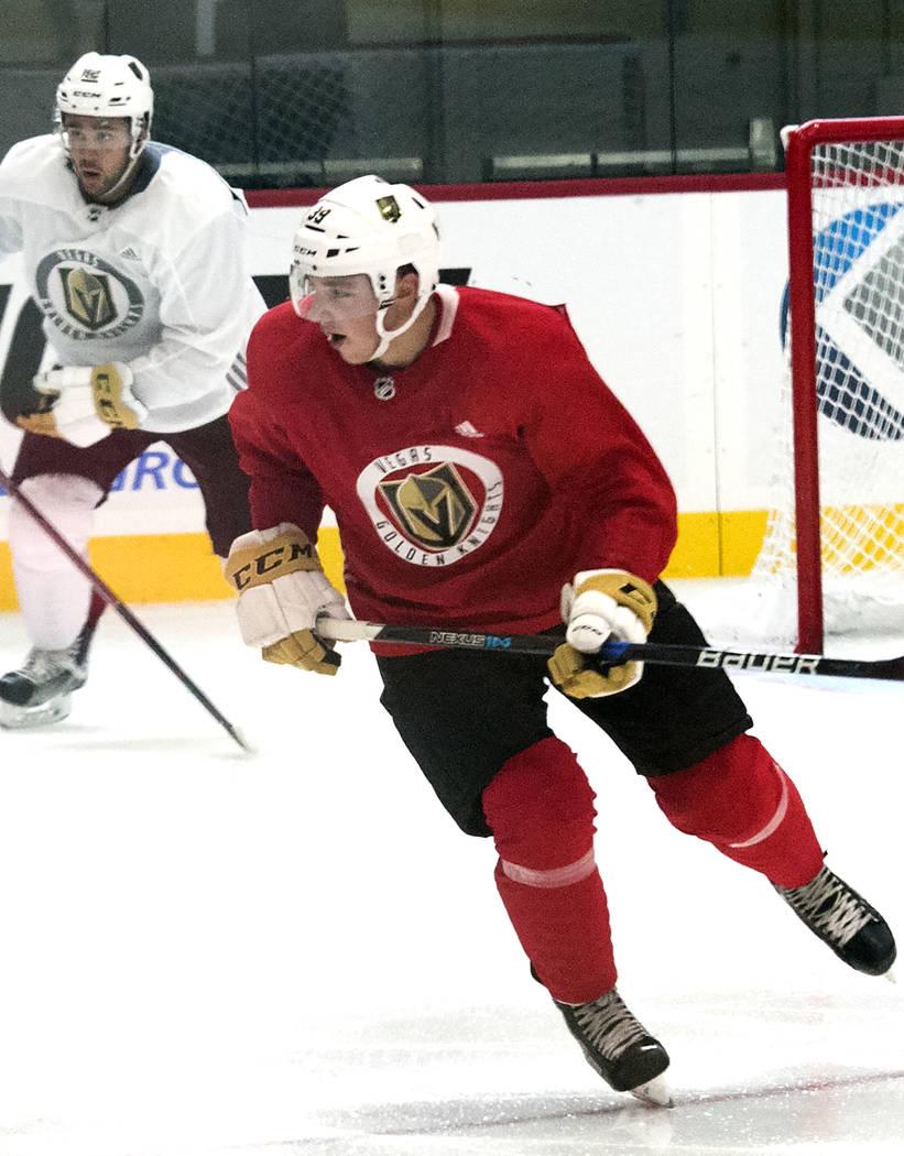 Vegas Golden Knights' forward Jake Leschyshyn, right, skates during rookie camp at City National Arena on Friday, Sept. 8, 2017, in Las Vegas. (Bizuayehu Tesfaye/Las Vegas Review-Journal) @bizutesfaye