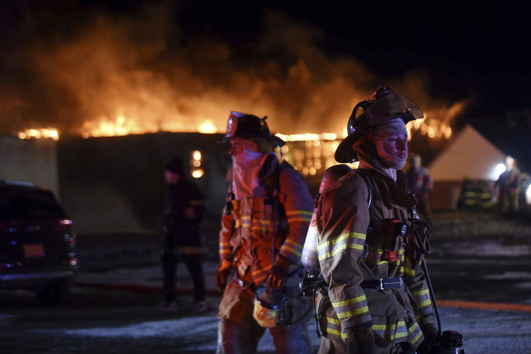 Four alarm fire at the Marcal factory in Elmwood Park on Wednesday, Jan. 30, 2019. Fire crews have been battling a large blaze at a New Jersey paper plant amid frigid temperatures. Crews from arou ...