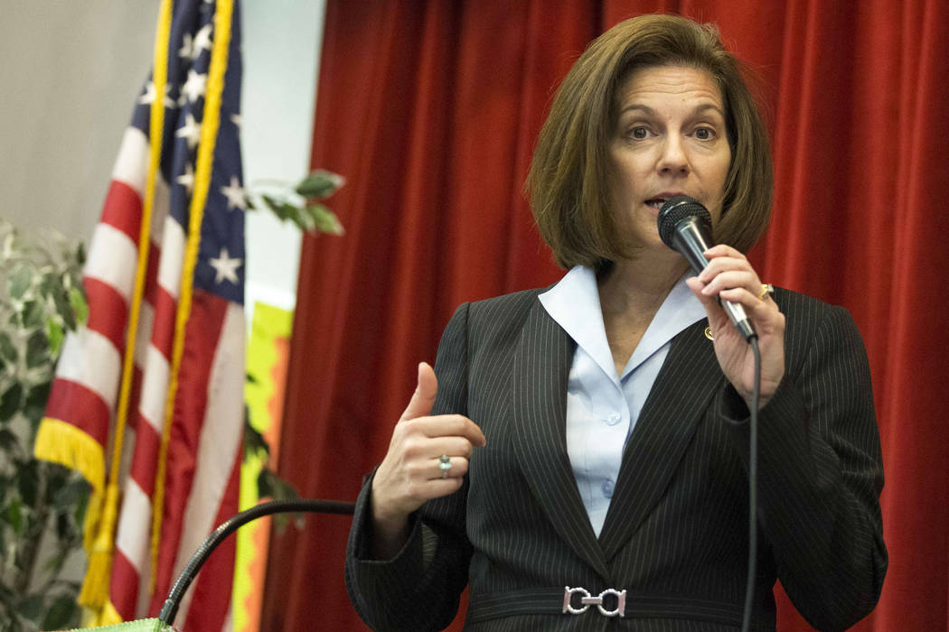 Sen. Catherine Cortez Masto, D-Nev., speaks to students and staff at Wendell P. Williams Elementary School in Las Vegas on Friday, Oct. 12, 2018. (Richard Brian/Las Vegas Review-Journal) @vegaspho ...