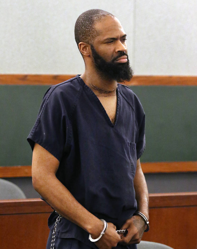 Antwon Perkins, charged with kidnapping and raping two girls, appears in court at the Regional Justice Center on Thursday, Jan, 31, 2019, in Las Vegas Las Vegas. (Bizuayehu Tesfaye/Las Vegas Revie ...