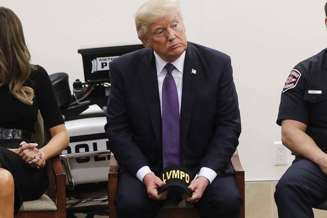 "President Donald Trump visits with first responders at Metropolitan Police Department headquarters in Las Vegas on Wednesday, Oct. 4, 2017. On Thursday, Jan. 31, 2019, Trump said he was ""disappo ..."