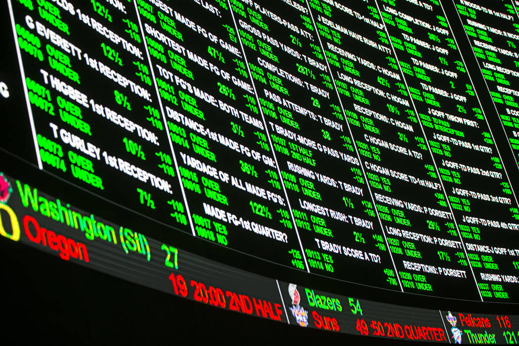 Prop bets for the Super Bowl on display at the Westgate Superbook in Las Vegas on Thursday, Jan. 24, 2019. The sportsbook posted 442 two-way props and more than 1,000 betting options. (Chase Steve ...
