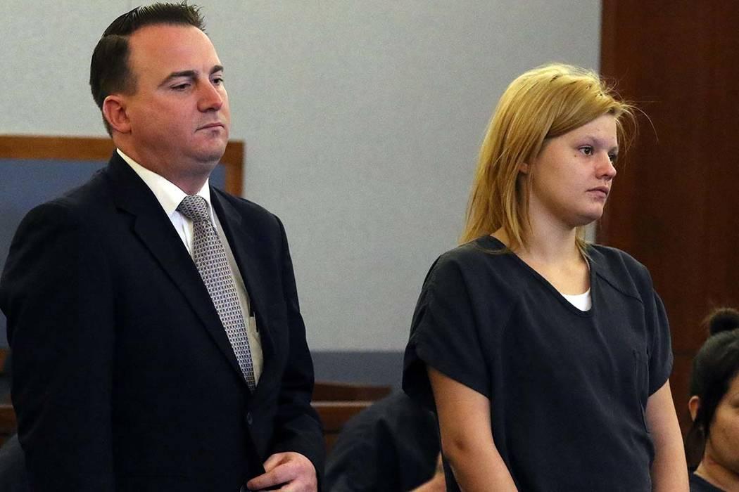 Krystal Whipple appears in court with her attorney, Ryan Bashor, at the Regional Justice Center on Thursday, Jan. 31, 2019, in Las Vegas. (Bizuayehu Tesfaye/Las Vegas Review-Journal) @bizutesfaye