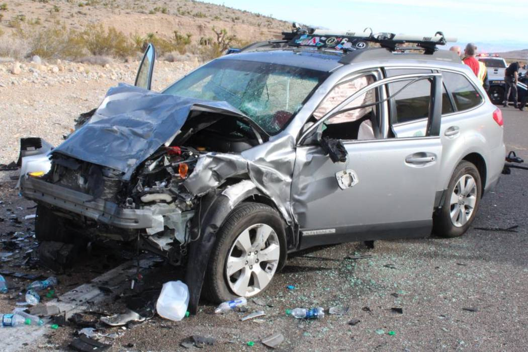 Two people died and another person was critically injured in a two-car crash on Sunday, Jan. 27, 2019, on state Route 159, near the entrance to the Red Rock Canyon National Conservation Area. (Nev ...