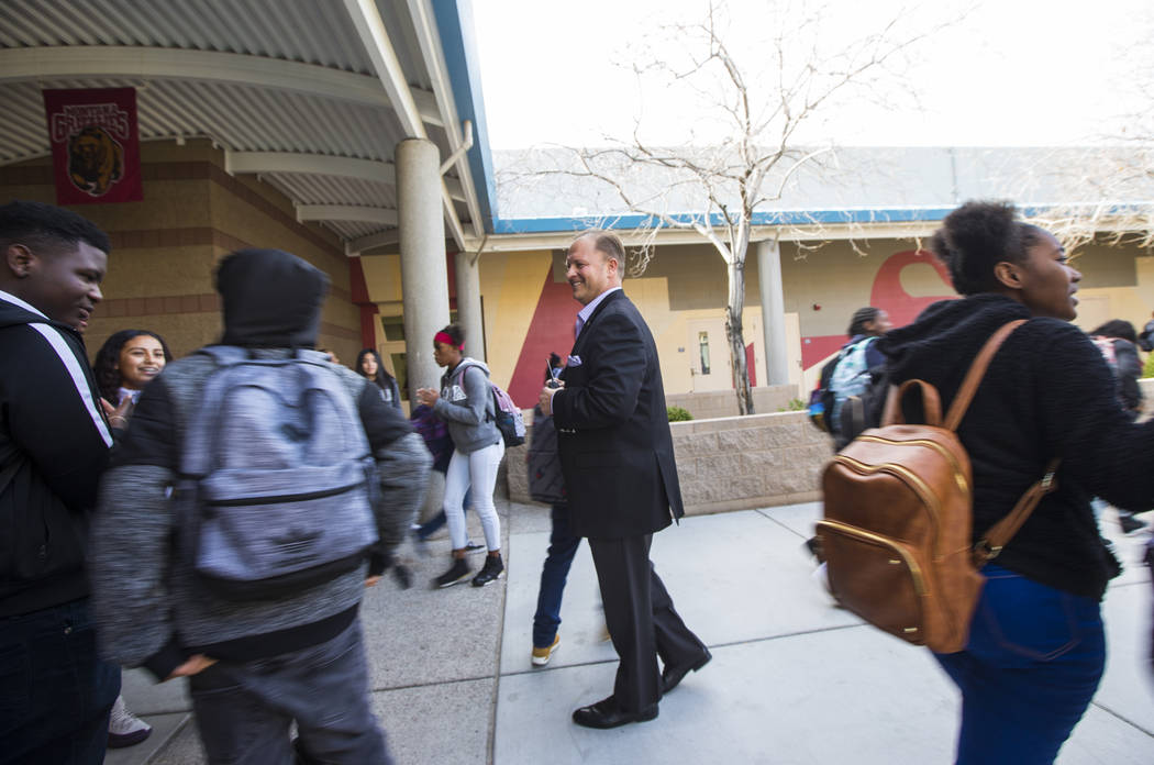 Louis Markouzis, principal of Johnston Middle School, greets students as they're dismissed in North Las Vegas on Wednesday, Jan. 30, 2019. Chase Stevens Las Vegas Review-Journal @csstevensphoto