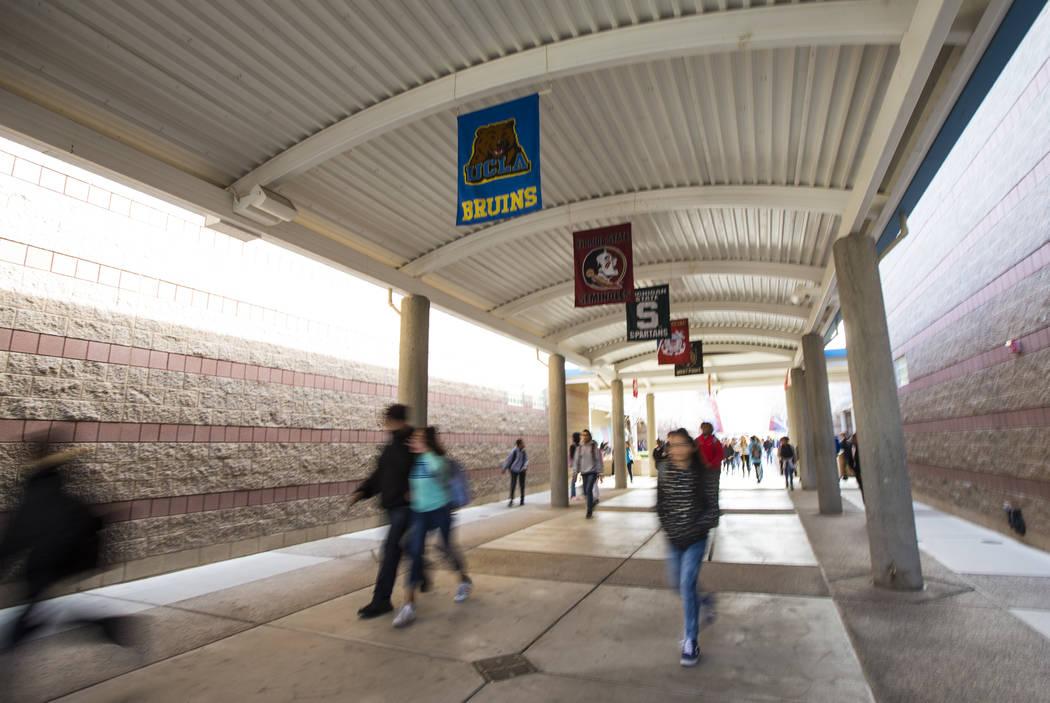 Students are dismissed at Johnston Middle School in North Las Vegas on Wednesday, Jan. 30, 2019. Chase Stevens Las Vegas Review-Journal @csstevensphoto