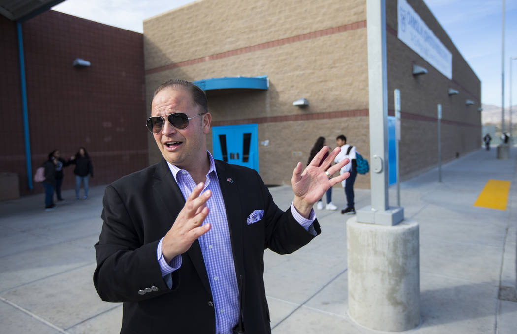 Louis Markouzis, principal of Johnston Middle School, outside of the school in North Las Vegas on Wednesday, Jan. 30, 2019. Chase Stevens Las Vegas Review-Journal @csstevensphoto