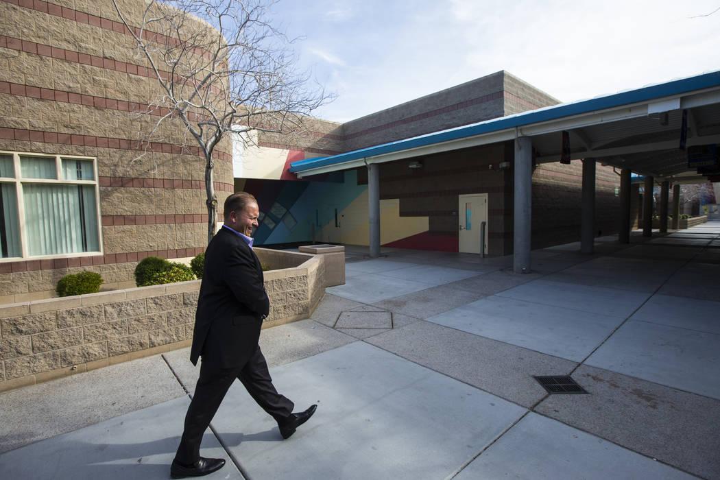 Louis Markouzis, principal of Johnston Middle School, walks the school's grounds in North Las Vegas on Wednesday, Jan. 30, 2019. Chase Stevens Las Vegas Review-Journal @csstevensphoto