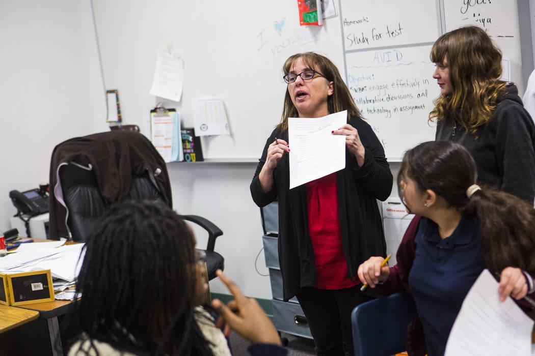 Gina Salazar, coordinator of the AVID program at Johnston Middle School, addresses her 6th grade students as they're dismissed in North Las Vegas on Wednesday, Jan. 30, 2019. Chase Stevens Las Veg ...