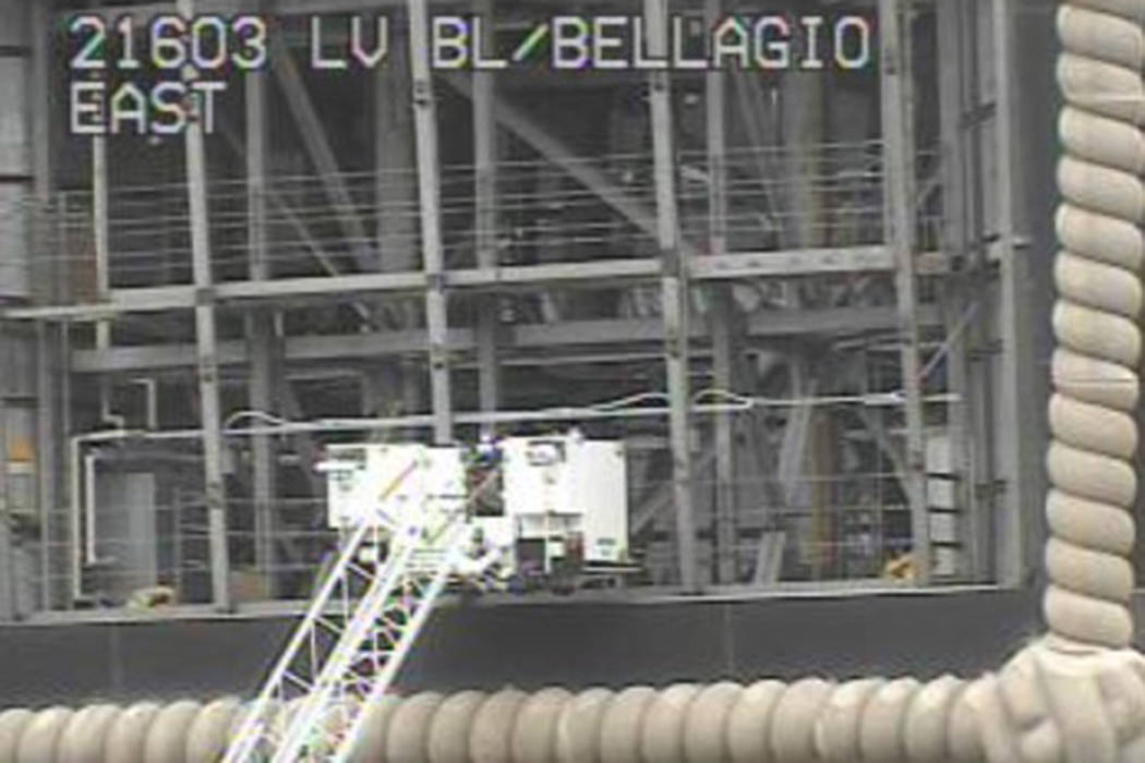 Clark County firefighters were working to rescue a man Thursday afternoon after he had fallen from the large balloon display on top of Paris Las Vegas. (RTC Traffic Cams)