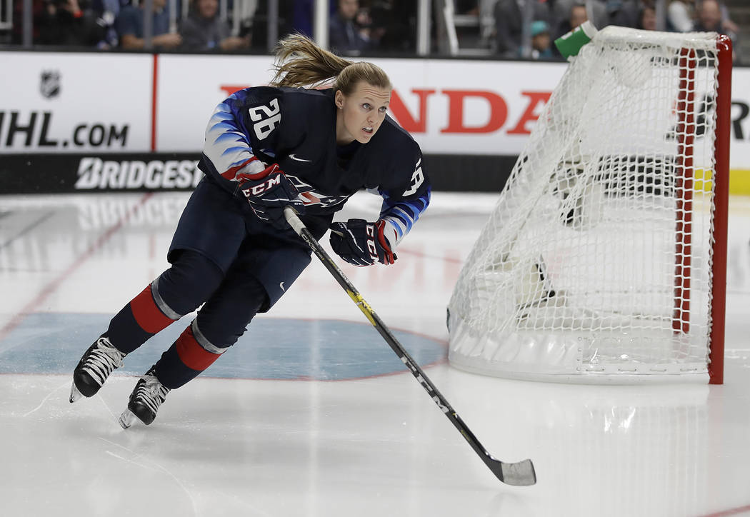 United States' Kendall Coyne skates during the Skills Competition, part of the NHL All-Star weekend, in San Jose, Calif., Friday, Jan. 25, 2019. (AP Photo/Ben Margot)