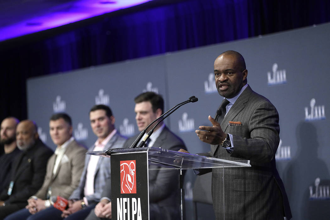 NFL Players Association Executive Director DeMaurice Smith speaks during a news conference at the media center for the NFL Super Bowl 53 football game Thursday, Jan. 31, 2019, in Atlanta. (AP Phot ...
