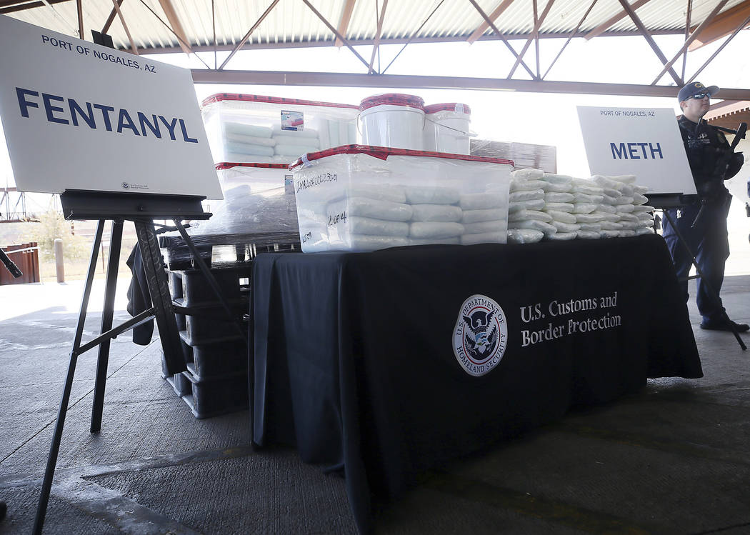 A display of the fentanyl and meth that was seized by Customs and Border Protection officers over the weekend at the Nogales Port of Entry is shown during a press conference on Thursday, Jan. 31, ...