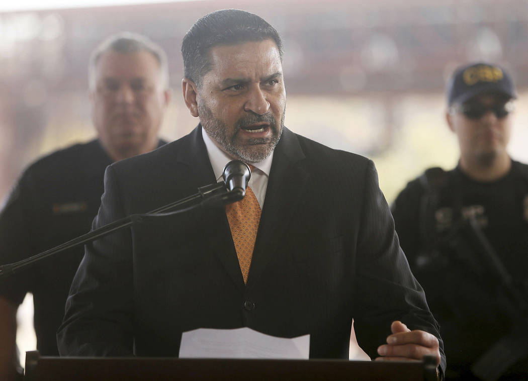 Juan Mariscal, assistant special agent in charge for Nogales talks during a press conference Thursday, Jan. 31, 2019, in Nogales, Ariz. U.S. Customs and Border Protection officials announced Thur ...