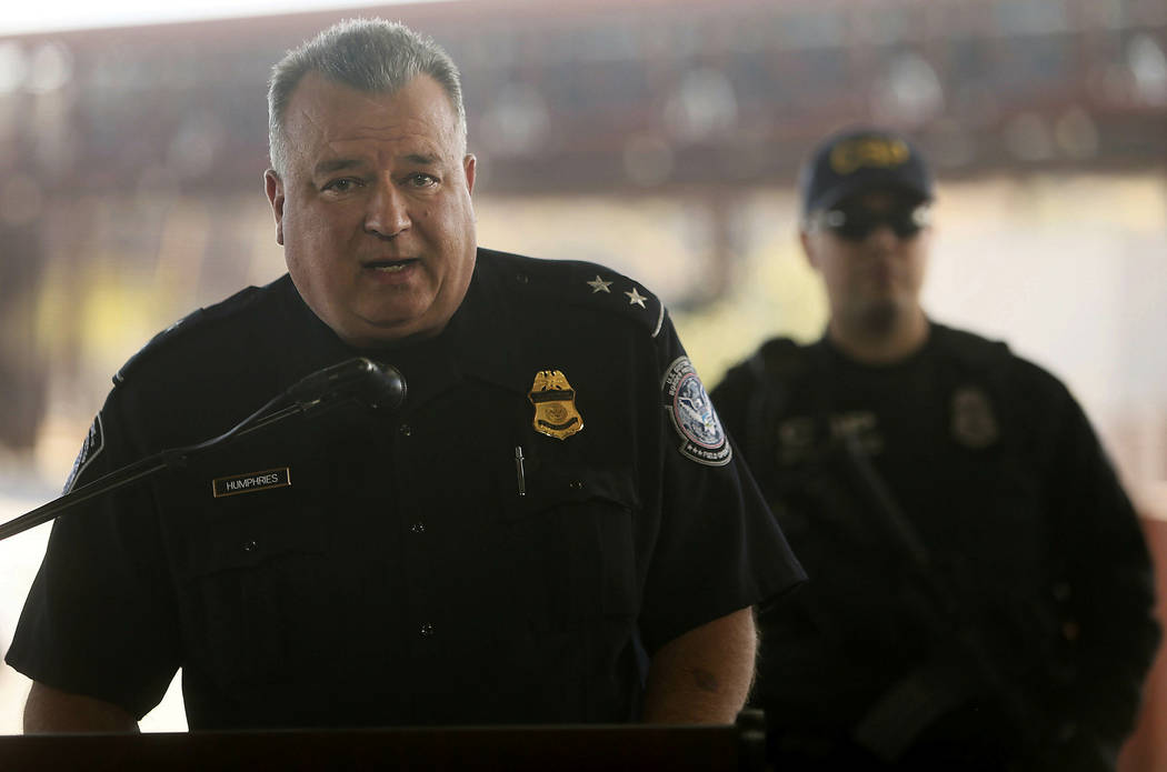 Michael Humphries, Nogales Port Director, talks during a press conference Thursday, Jan. 31, 2019, in Nogales, Ariz. U.S. Customs and Border Protection officials announced Thursday their biggest ...