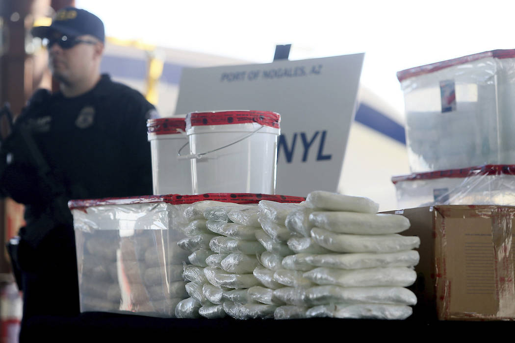 A display of the fentanyl and meth that was seized by Customs and Border Protection officers over the weekend at the Nogales Port of Entry is shown during a press conference on January 31, 2019, i ...