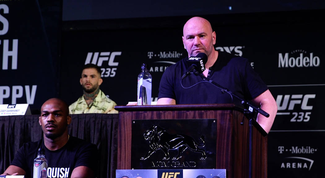 UFC president Dana Whites speaks at a press conference for UFC 235 at MGM Grand in Las Vegas on Jan. 31, 2019. (Heidi Fang/Las Vegas Review-Journal)