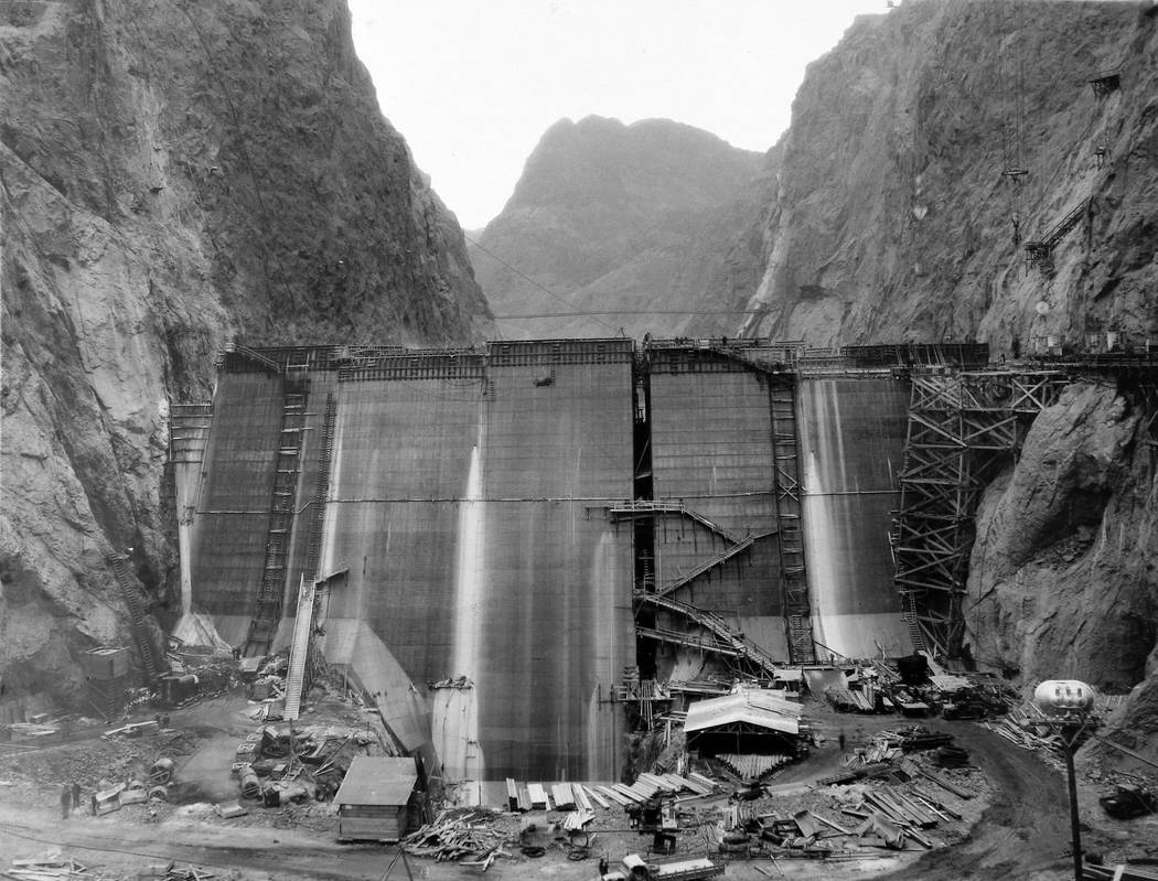 Construction takes place at the base of Hoover Dam. (UNLV Special Collections)
