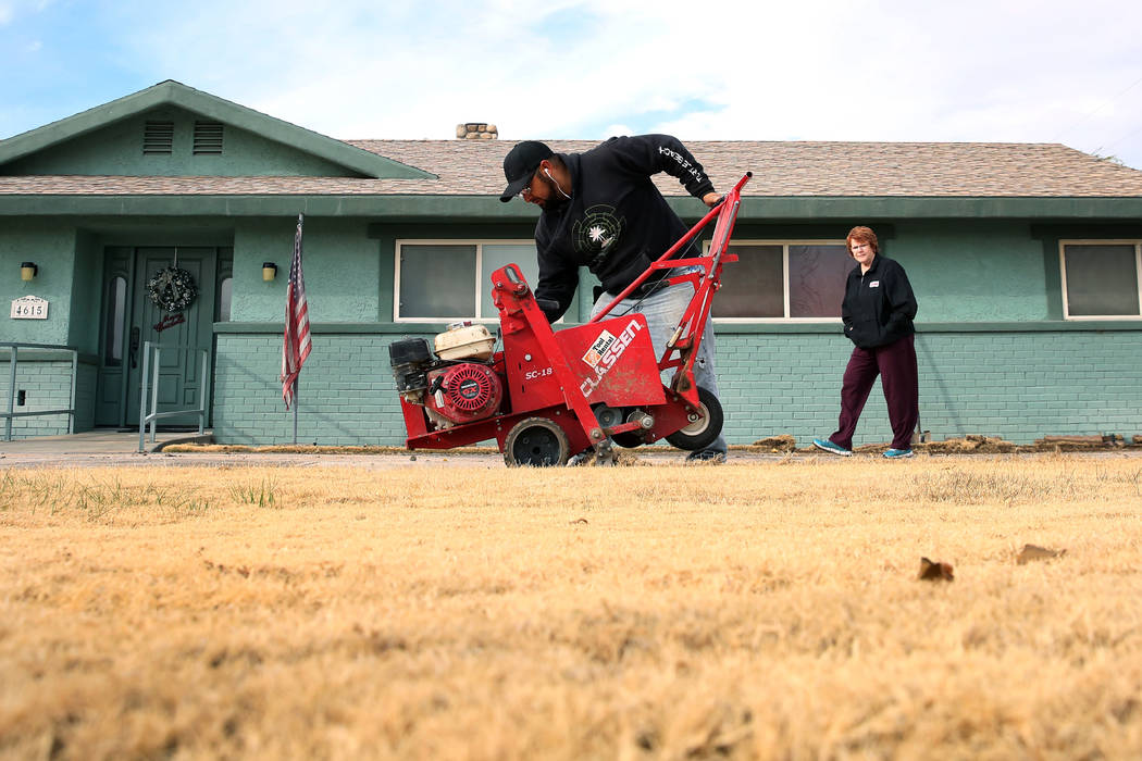 Mary Kiosowski Lewis, right, watches as Pacas Rivera of North West Landscape uses sod removal to remove old lawn from her front yard not photographed, home on Monday, Dec. 10, 2018. Bizuayehu Tesf ...