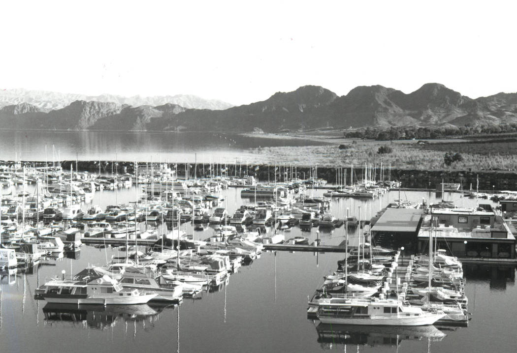 The former site of Lake Mead Marina at Lake Mead National Recreation Area pictured in 1985. (Las Vegas Review-Journal)