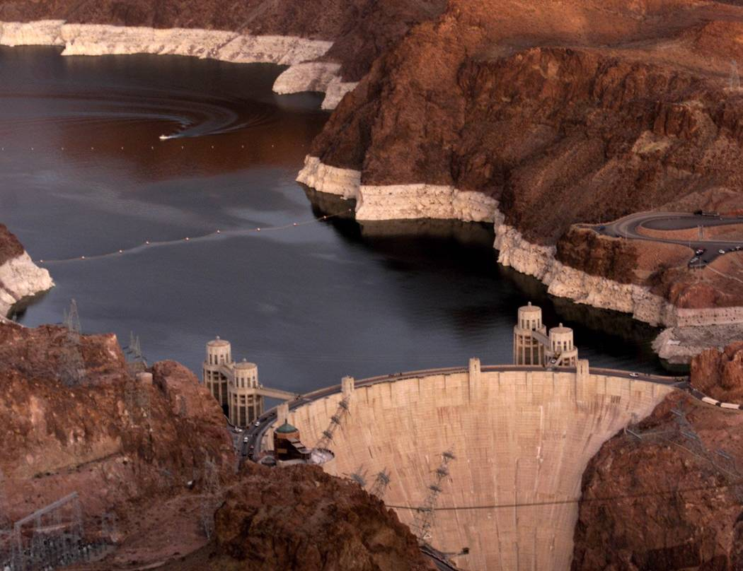 The water level at Lake Mead in 2002. That year was the driest year ever recorded on the Colorado river. (Review-Journal file)