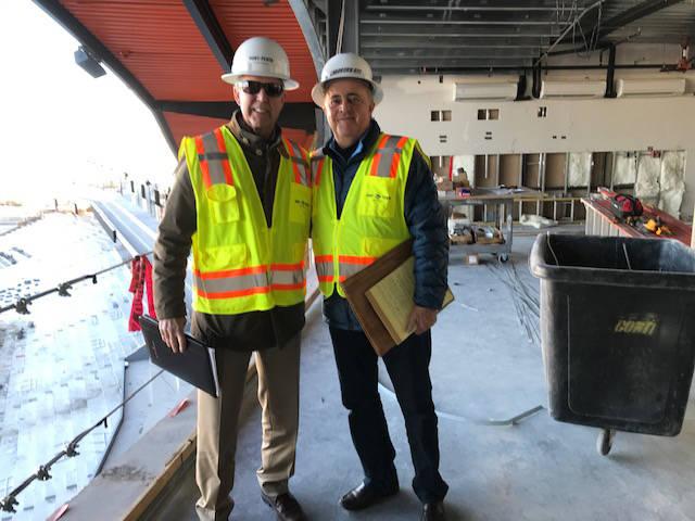 Tom Warden, left, and Don Logan at the under-contruction Las Vegas Ballpark. (Herb Jaffe)