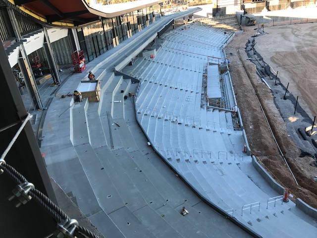 The third-base side of the under-contruction Las Vegas Ballpark. (Herb Jaffe)