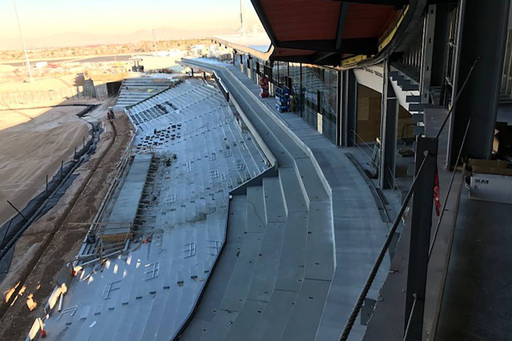 The first-base side of the under-contruction Las Vegas Ballpark. (Herb Jaffe)