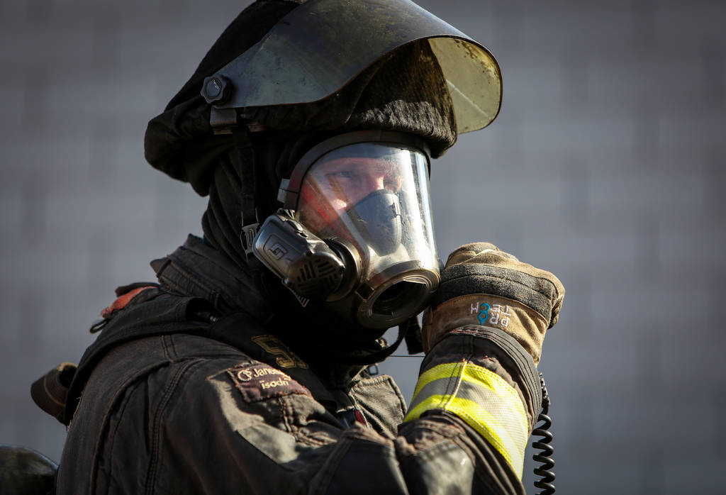 North Las Vegas firefighter Darcy Loewen speaks into a radio during a training session at North Las Vegas Fire station 52 in Las Vegas, Tuesday, Dec. 18, 2018. Caroline Brehman/Las Vegas Review-Jo ...