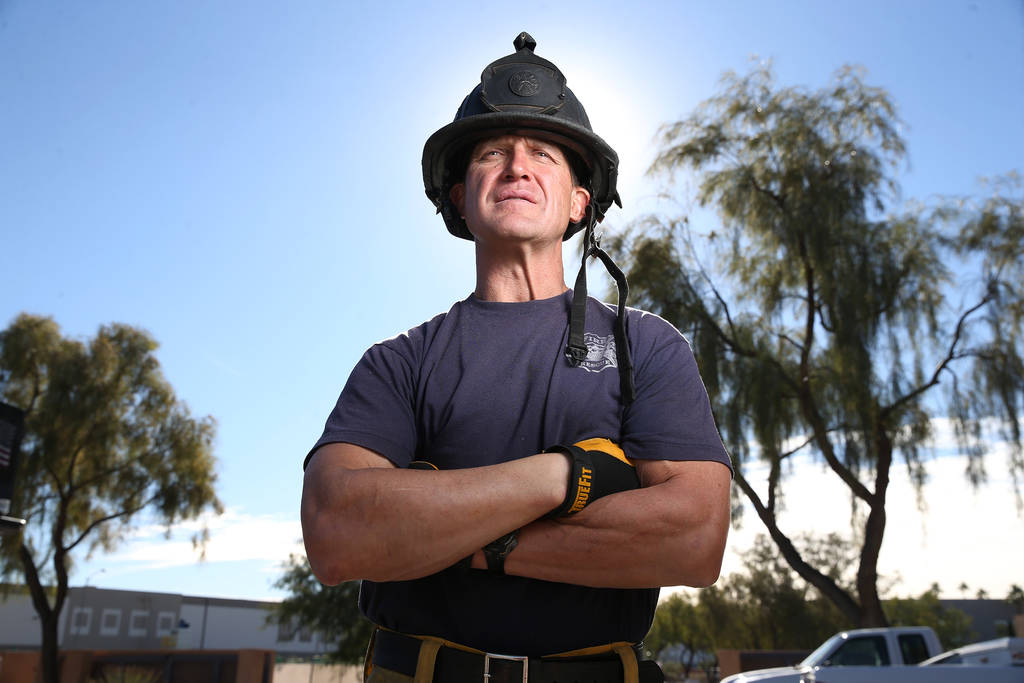Darcy Loewen, a former NHL and IHL hockey player and now North Las Vegas Fire Department officer, at the North Las Vegas Fire Station 52 in Las Vegas, on Tuesday, Dec. 4, 2018. Erik Verduzco Las V ...